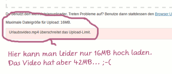 WordPress: max Upload überschritten